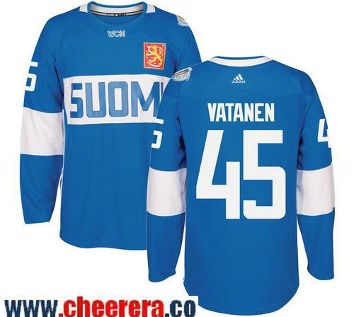 Men's Team Finland #45 Sami Vatanen adidas Blue 2016 World Cup of Hockey  Stitched WCH