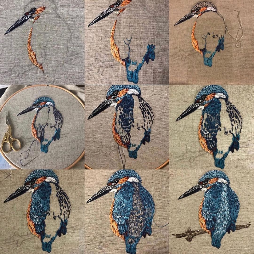 """Lucy Hand Embroidery on Instagram: """"A selection of my previous embroideries, start to finish 🦚"""""""