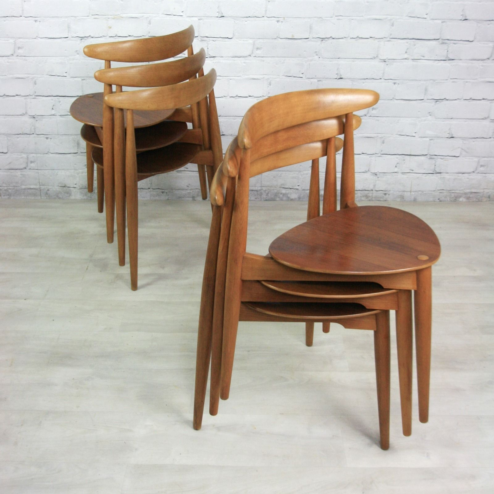 Vintage hans wegner for fritz hansen heart danish dining for Wegner dining chair