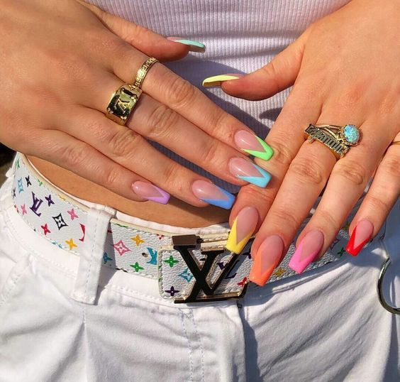 Mani of the Week: Neon Pastel French Tips #nails #manicure