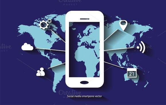 Social media smarthphone vector