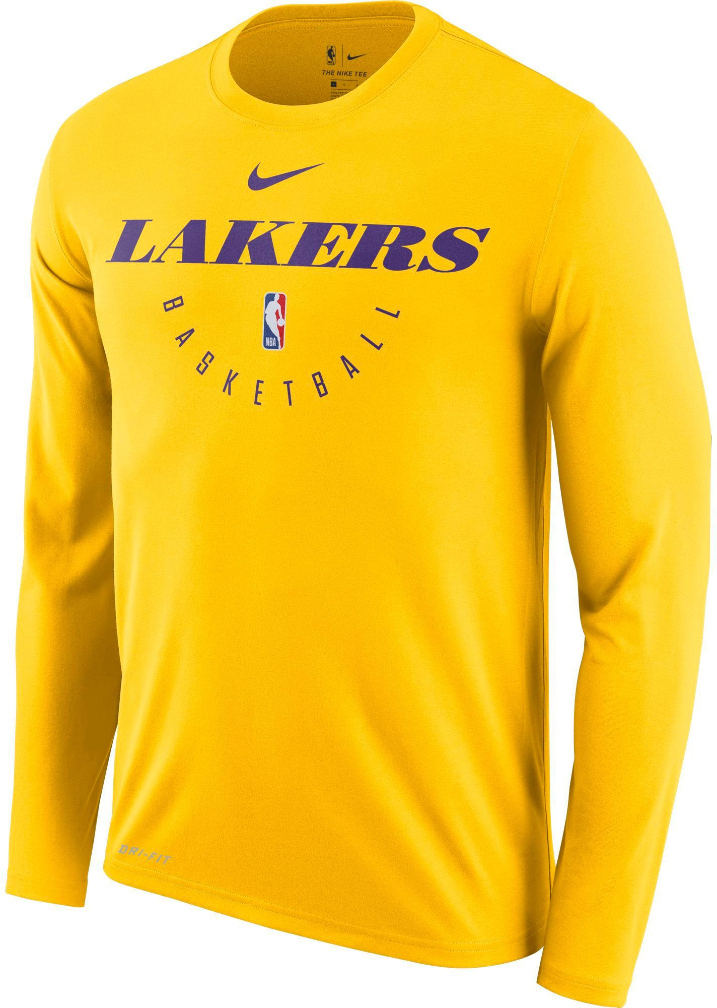 73629d937 Nike Men's Los Angeles Lakers Dri-FIT Practice Long Sleeve Shirt, Size:  Small, Team
