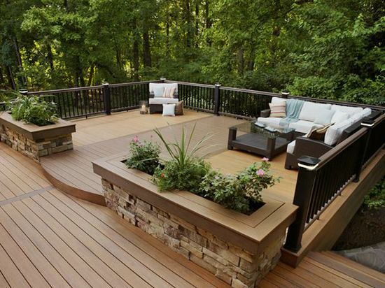 Wood Planters With Stone Around The Bottom Deck Designs