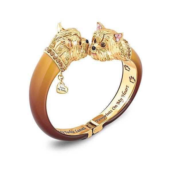 Yorkie Lovers Swarovski Crystal Bangle Bracelet ($119) ❤ liked on Polyvore featuring jewelry, bracelets, bangle bracelet, dog charms, swarovski crystal bangle bracelet, bangle charm bracelet and heart jewelry