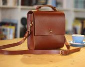 Lucy - Boxy Tan Leather Cross-body Bag
