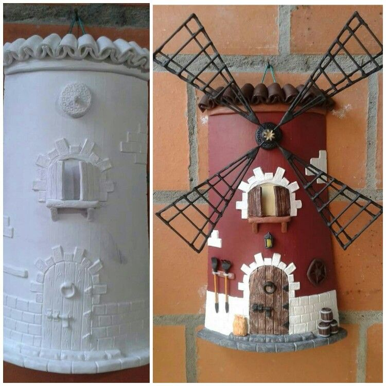 Teja decorada molino | tejas decoradas | Pinterest | Molinillos