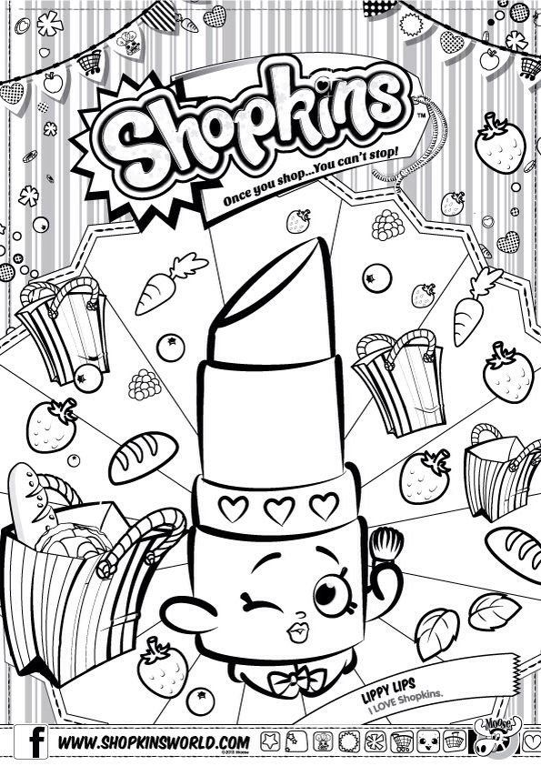 Shopkins Colour Color Page Lippy Lips Shopkinsworld Shopkins