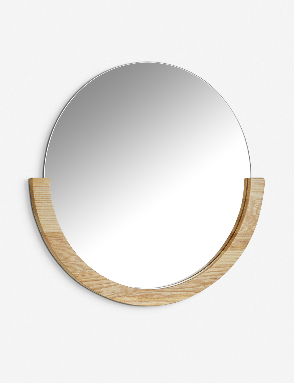 A Semi Circle Wooden Frame Encompasses This Circular Mirror For Added Visual Interest While A Neutral Color Allows It T Mirror Circular Mirror Natural Mirrors