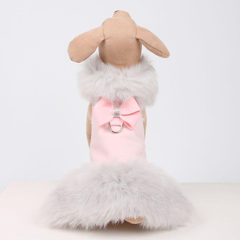 d0057713e80f74457d96899ac9ff469c susan lanci nouveau bow dog coat with silver fox fur dog boutique