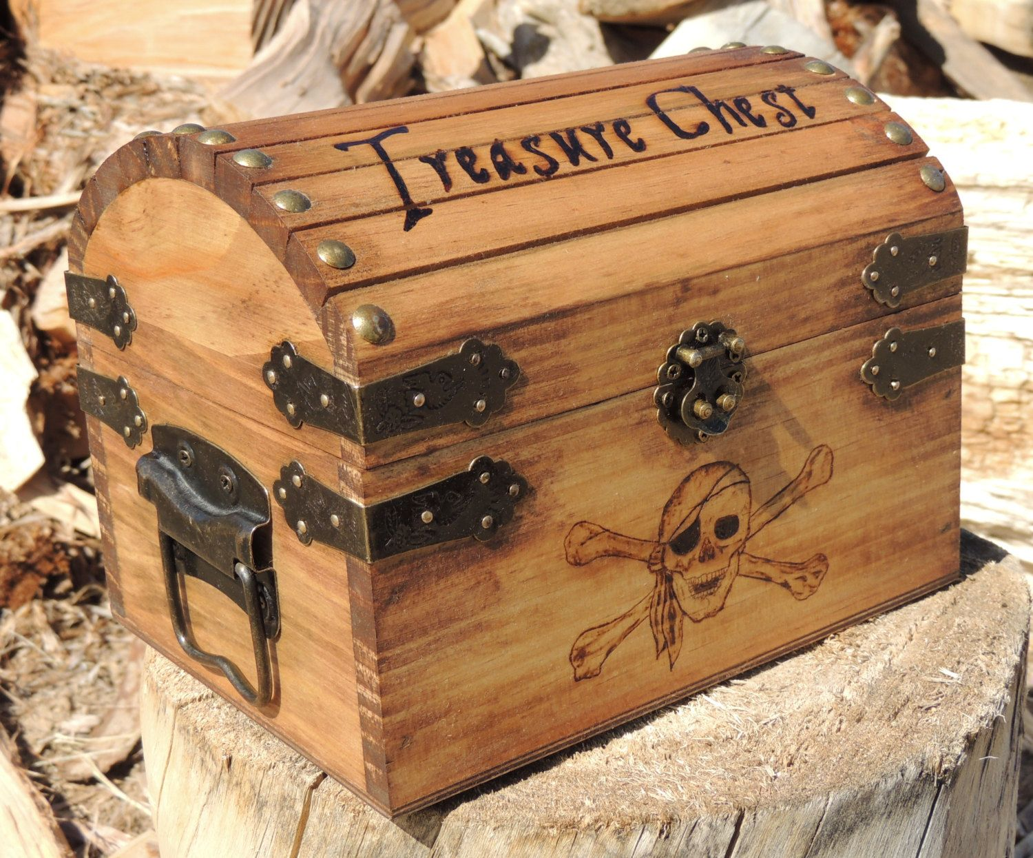 Small treasure chest personalized pyrography