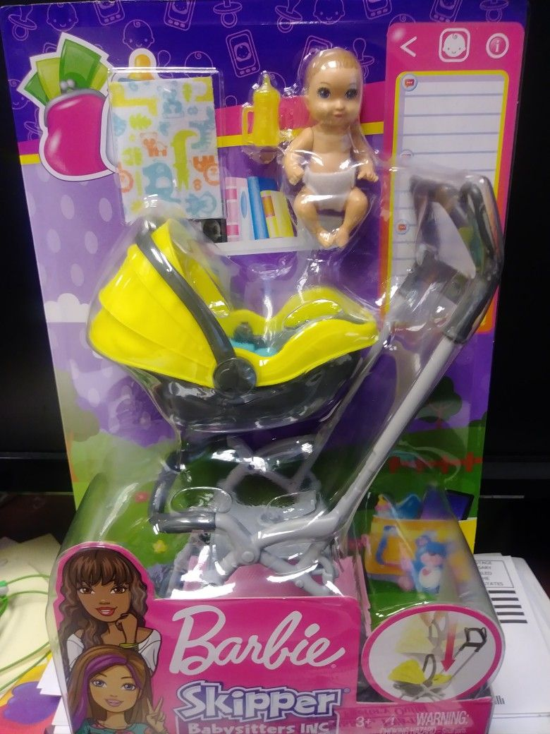 Barbie Skipper Babatsitters Inc. Stroller and baby playset