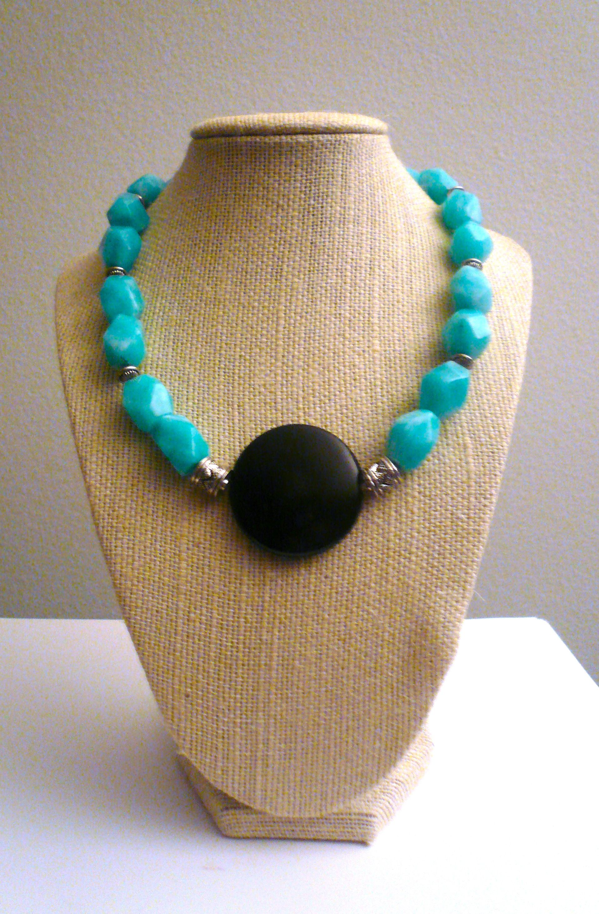 Onyx and Amazonite Necklace by GlamRox