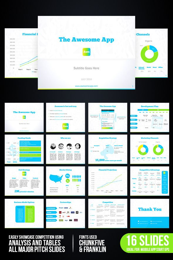 App Startup Presentation Mobile app and Font logo - business presentation template