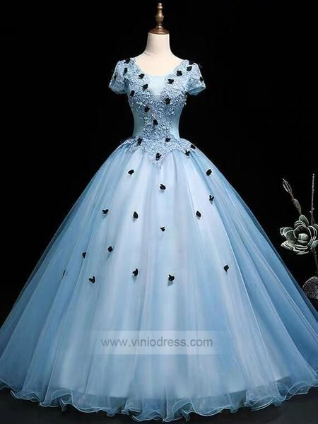 766fa5fce23 Sky Blue Short Sleeve Ball Gown Prom Dress Sweet 15 Dress FD1036 –  Viniodress