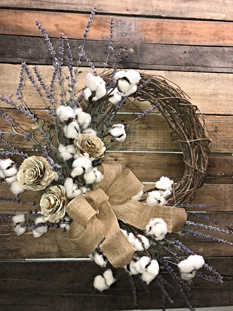 farmhouse rustic cotton wreath pin wreaths decor everyday cor d and lavender bolls decorative