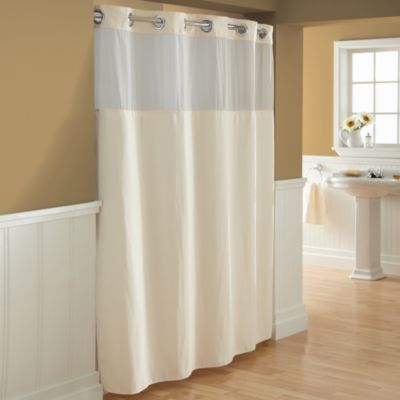 Hookless Waffle Fabric Shower Curtain And Liner Set In Cream