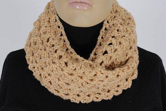 Crochet  Gold Infinity Scarf Handmade Scarf Neck warmer