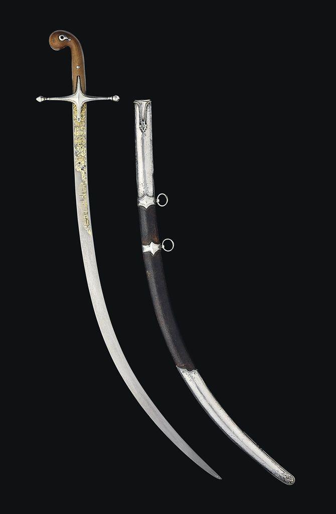 AN OTTOMAN SWORD (SHAMSHIR) SIGNED 'AJAMOGLU, OTTOMAN TURKEY, 18TH CENTURY