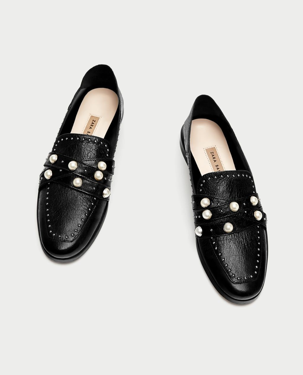 da5b9feb825 Image 5 of LEATHER LOAFERS WITH PEARL BEADS from Zara