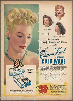 1945 Charm Kurl Vintage Hair Styling Product Ad Cold Wave Permanent