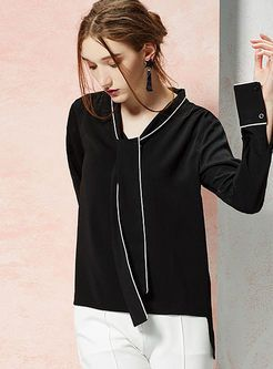 Black Hit Color Tie Patch Pullover Loose Blouse