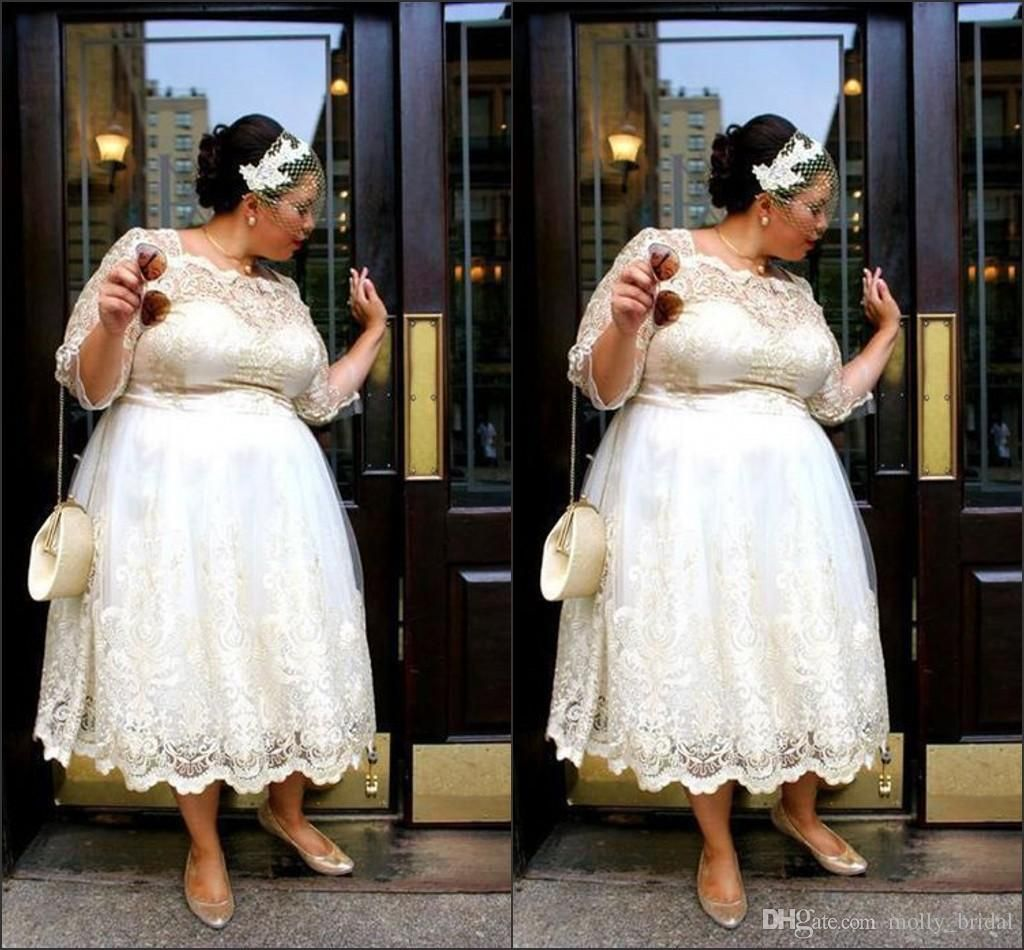 Plus size white wedding dresses  Charming Plus Size Wedding Dresses  Tea Length lace Bridal Dress
