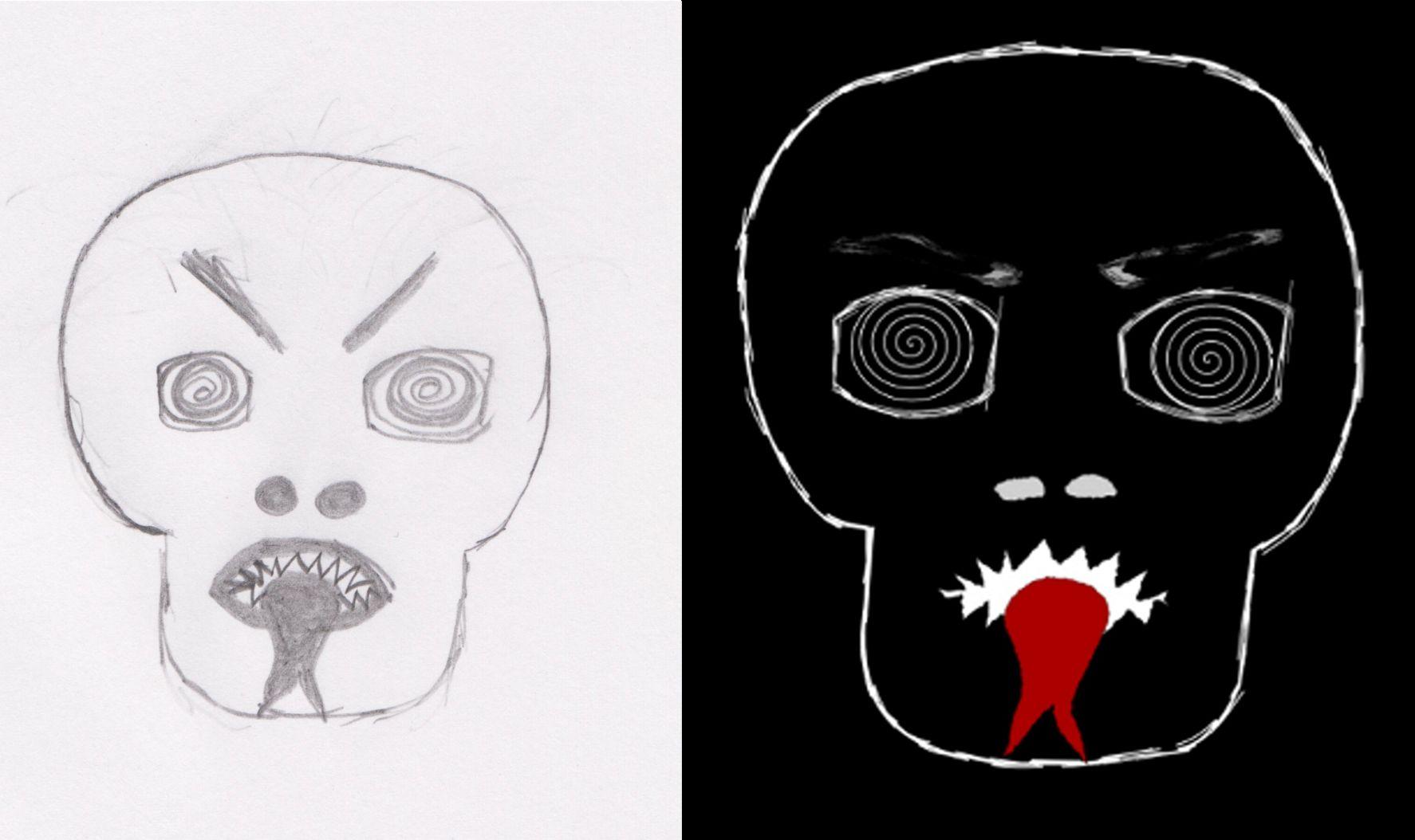 grotesque face: sketch and graphic - Fratze: Skizze und fertige Grafik