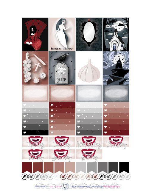 b6f6d5ffbd75c Vampire sticker kit weekly kit printable planner stickers ec eclp ...