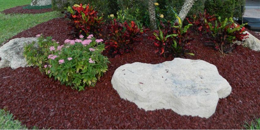 Brown landscape rubber mulch customer photo 2 garden for Dark brown landscape rock