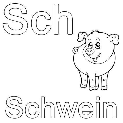 ausmalbild buchstaben lernen: kostenlose malvorlage: sch