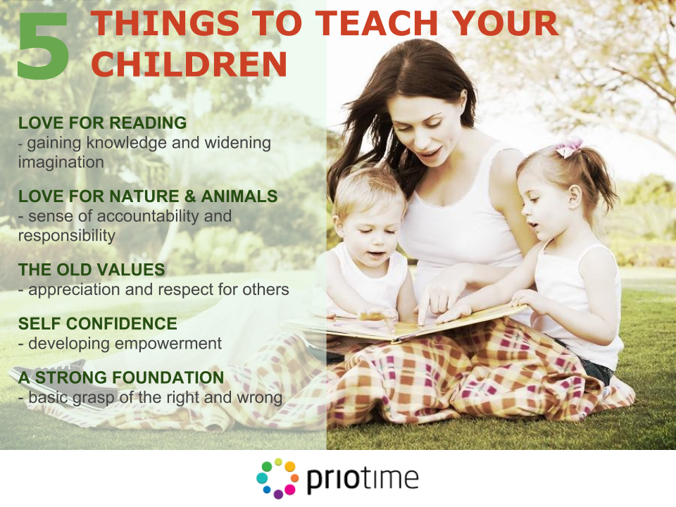 #Children start learning about responsibilities and accountability from the very early years. How do you empower your kids to #development? Let us know your thoughts in the comments below http://www.priotime.com/five-things-you-want-to-teach-your-children/