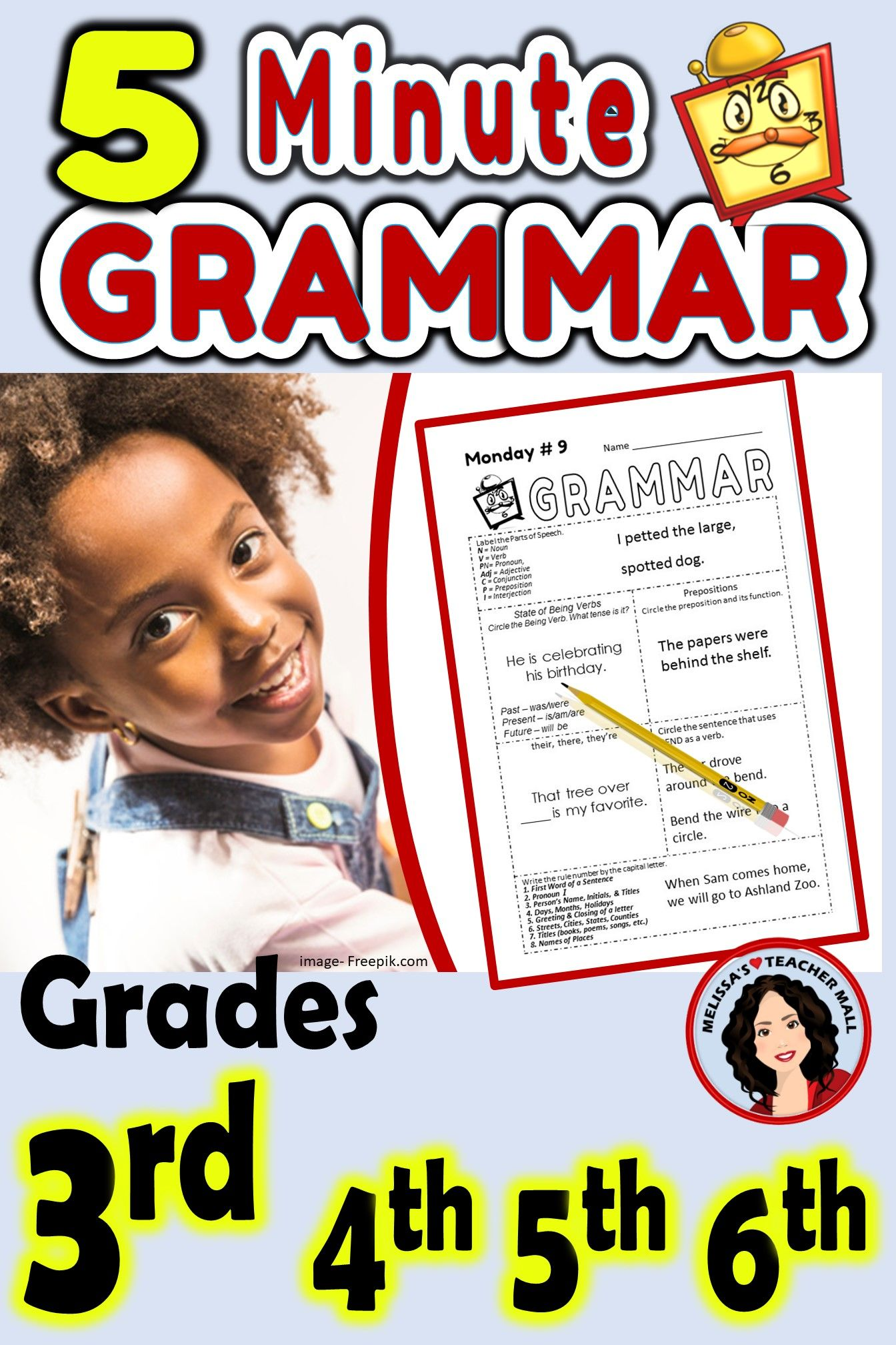 5 Minute Grammar Daily Grammar Worksheets 3rd GRADE Practice and Assessment    Grammar worksheets [ 2016 x 1344 Pixel ]