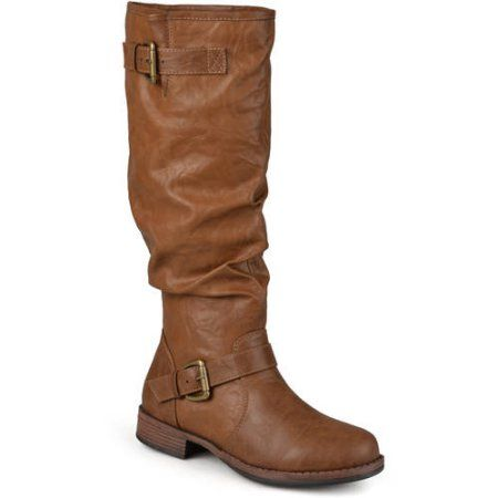 de17a5913442 Womens Extra Wide-Calf Buckle Knee-High Riding Boot