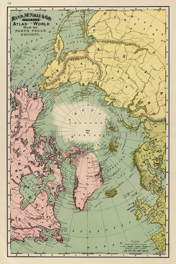 Map of North Pole regions -  Arctica map fine print on paper or canvas