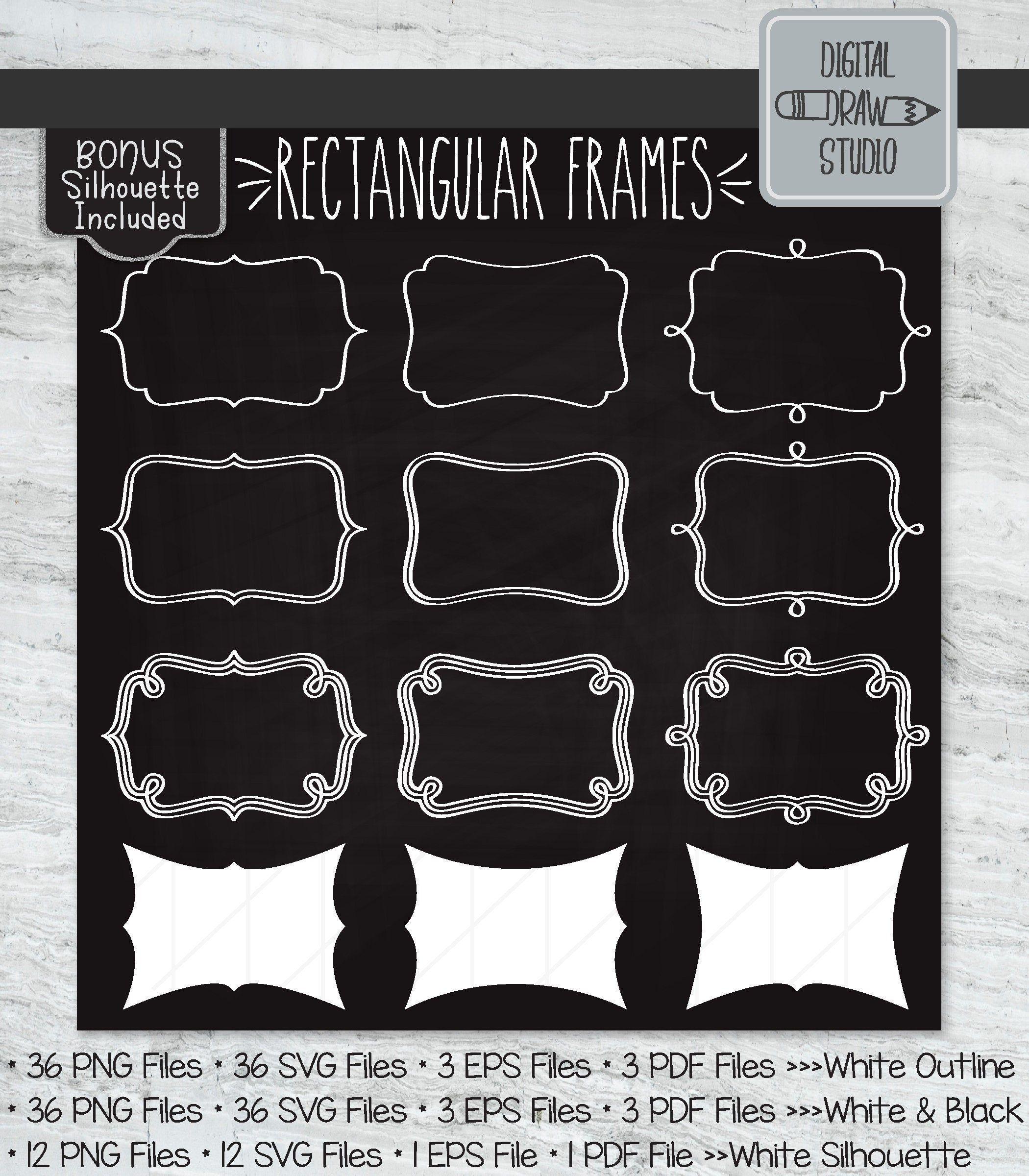 48 White Rectangle Frames Clip art Hand Drawn Border
