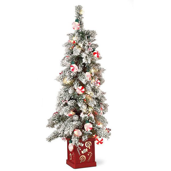 Improvements 4\u0027 Peppermint Christmas Tree with Lighted Base ($80