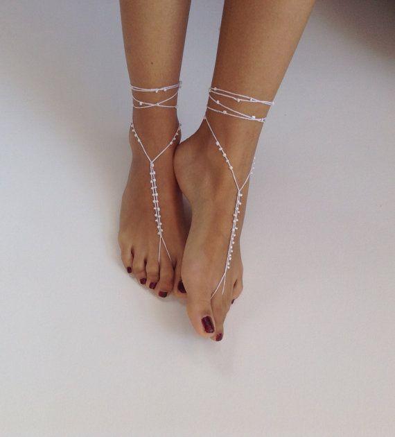d5b1e68de Barefoot Sandals bead whites wedding Bikini Women by SibelDesign ...