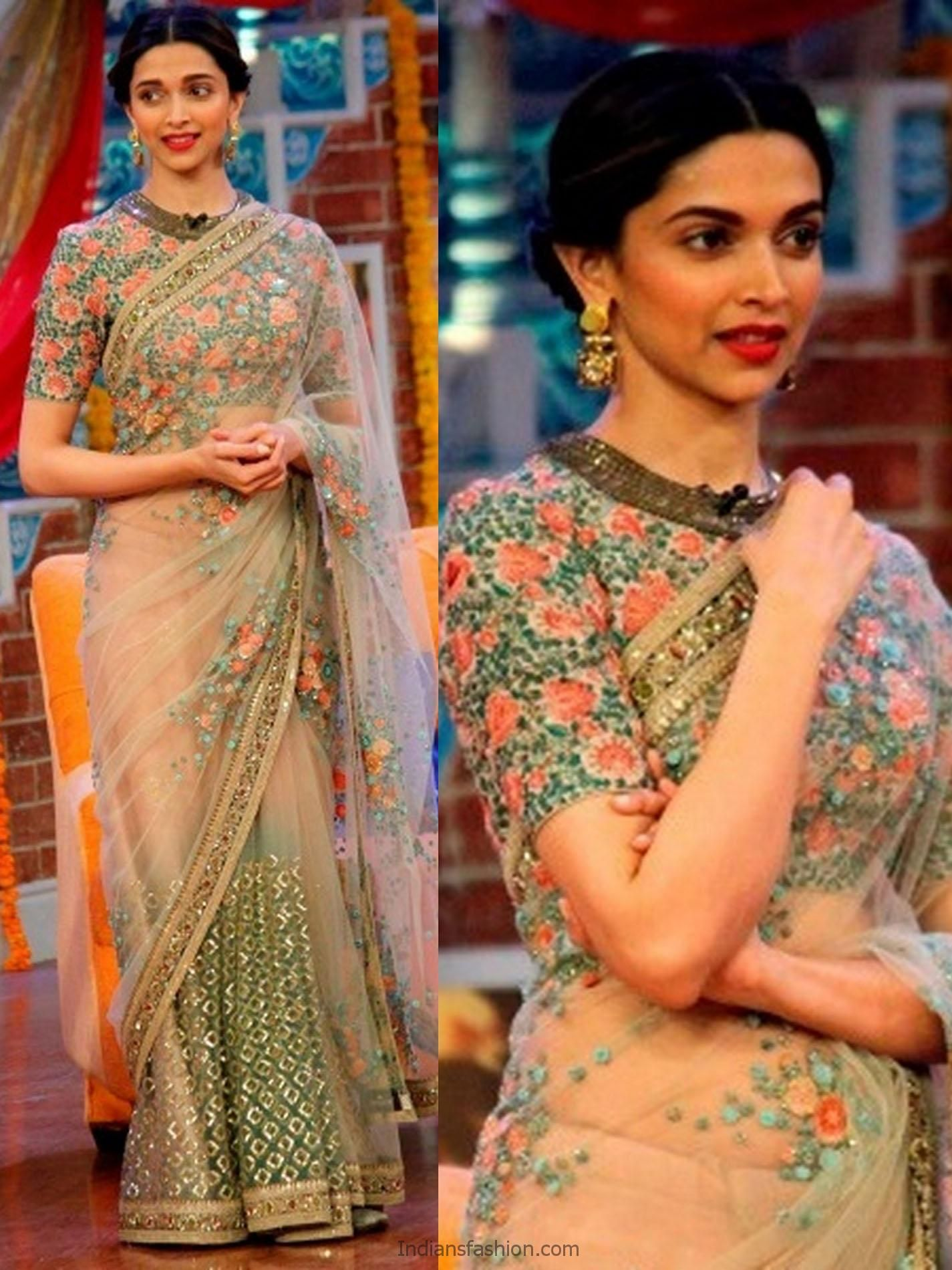 Intricate Floral Embroidered Blouse Worn By Deepika Read More Http Fas Blouse Designs High Neck Designer Saree Blouse Patterns Designer Sarees By Sabyasachi