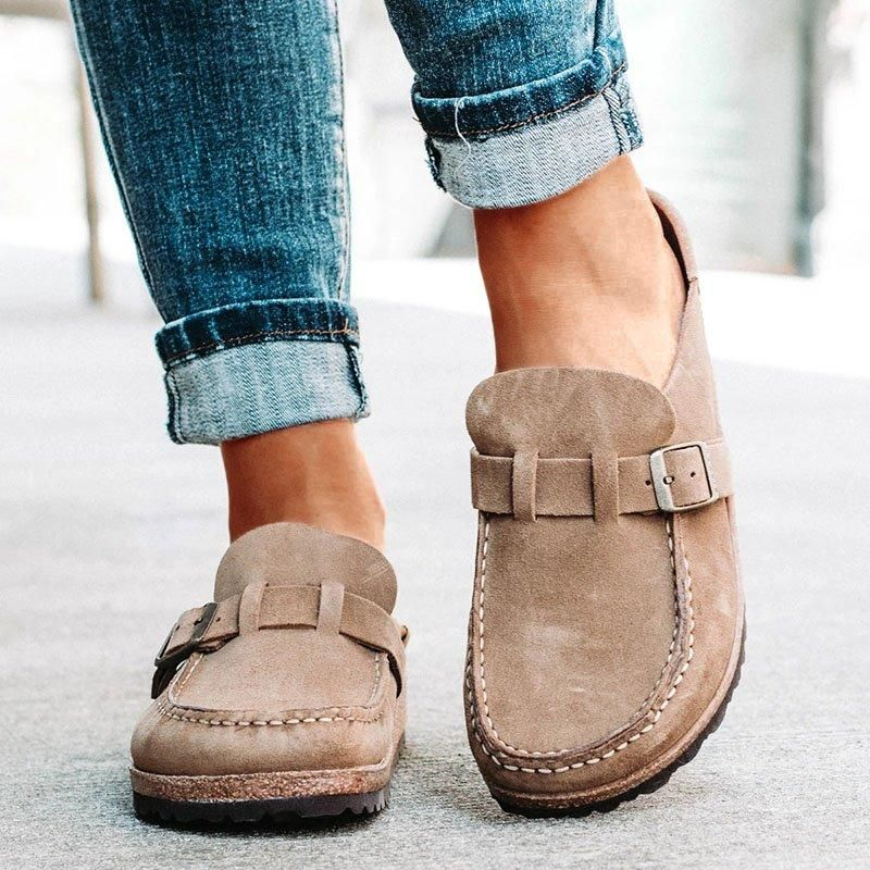Women Casual Comfy Leather Slip On