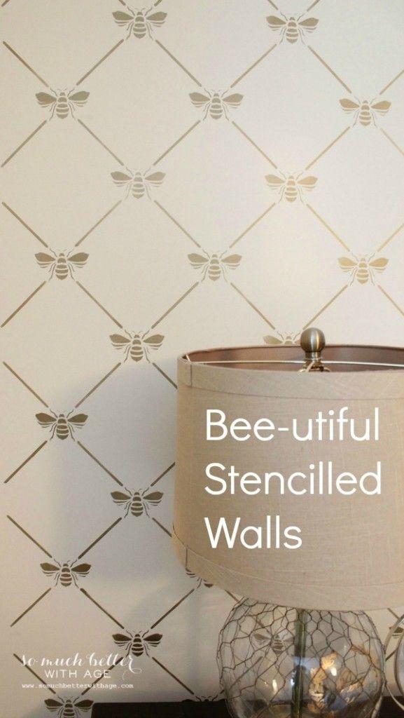 BEEutiful Stencilled Wall Bee stencil, Stencils, Bee