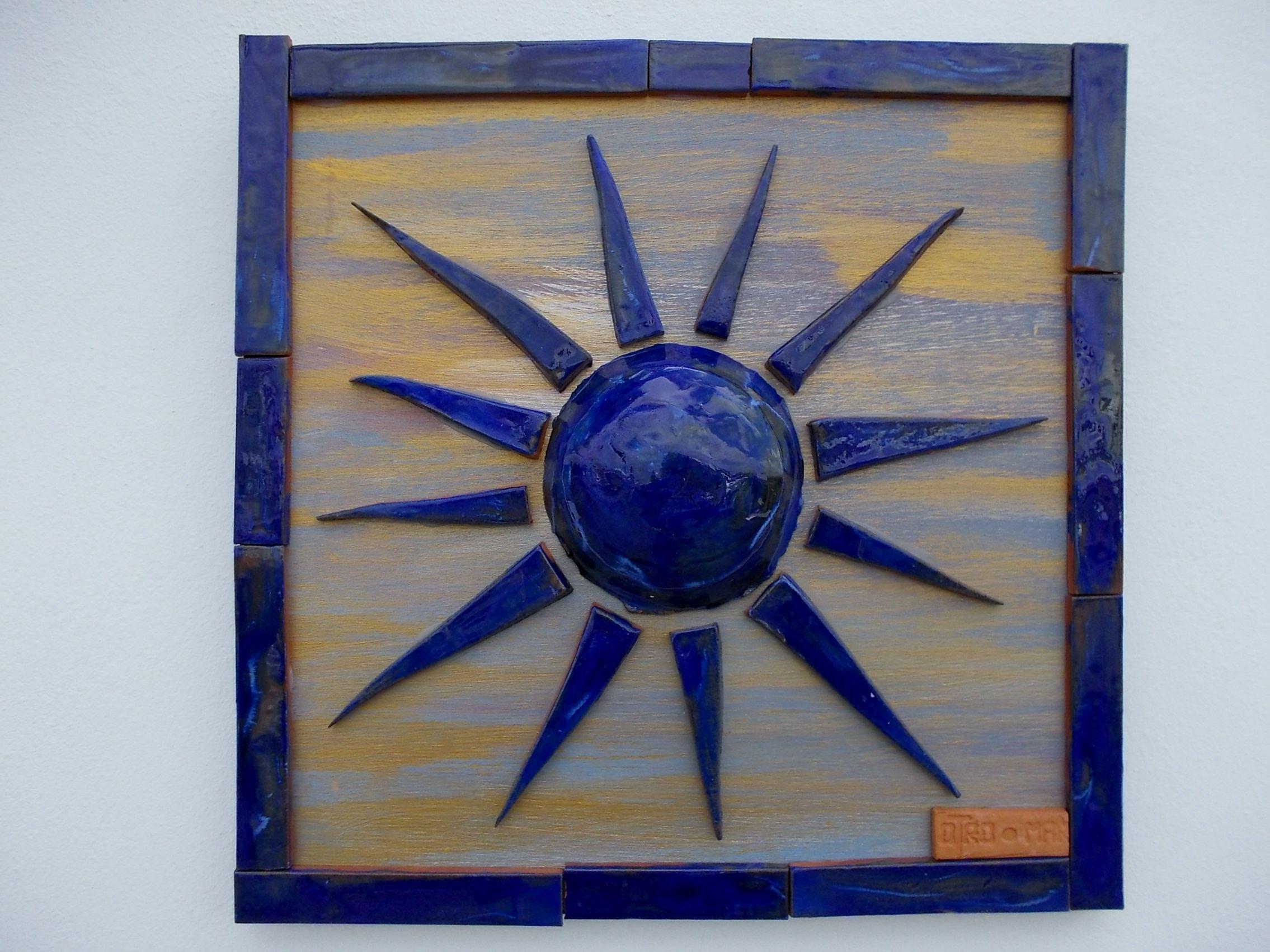 Handmade Ceramic Sun Wooden Hand Painted Base And Ceramic Frame 30
