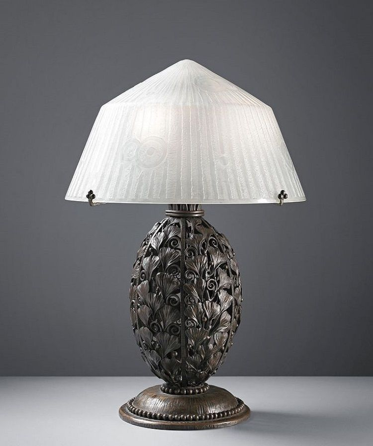 Louis Katona 1850 1933 And Daum Table Lamp Circa 1925 Painted Iron Etched Glass 22 1 2 In 57 2 Cm High 15 1 2 Lampe Art Deco Art Deco Lampe Merveilleuse