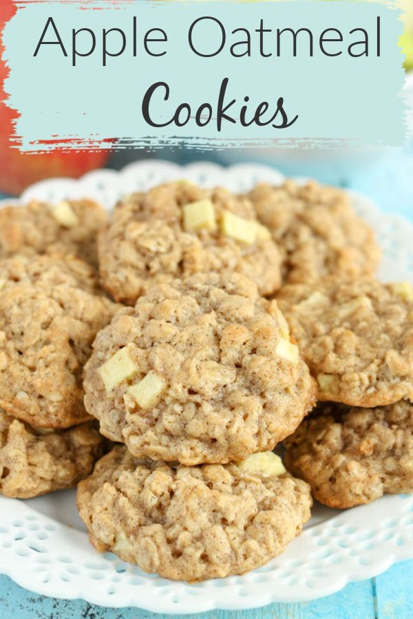 These thick, soft, and chewy apple oatmeal cookies are guaranteed to be your new favorite cookie for fall! Filled with delicious soft apples, these cookies will stay moist for days! If you want to wow your family and friends with a new fall dessert, try these apple oatmeal cookies! #cookies #falldessert #appleoatmeal #apple #fallbaking #fall #desserts #livewellbakeoften