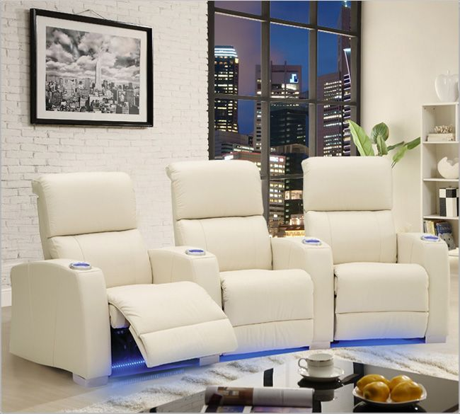 Palliser HiFi 41453 Home Theater Seating in white leather.   Home ...