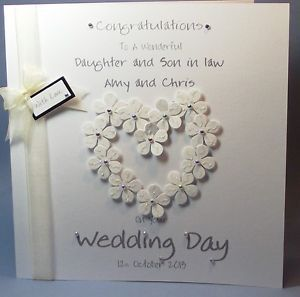 PERSONALISED HANDMADE FLOWER HEART CONGRATS WEDDING DAY CARD