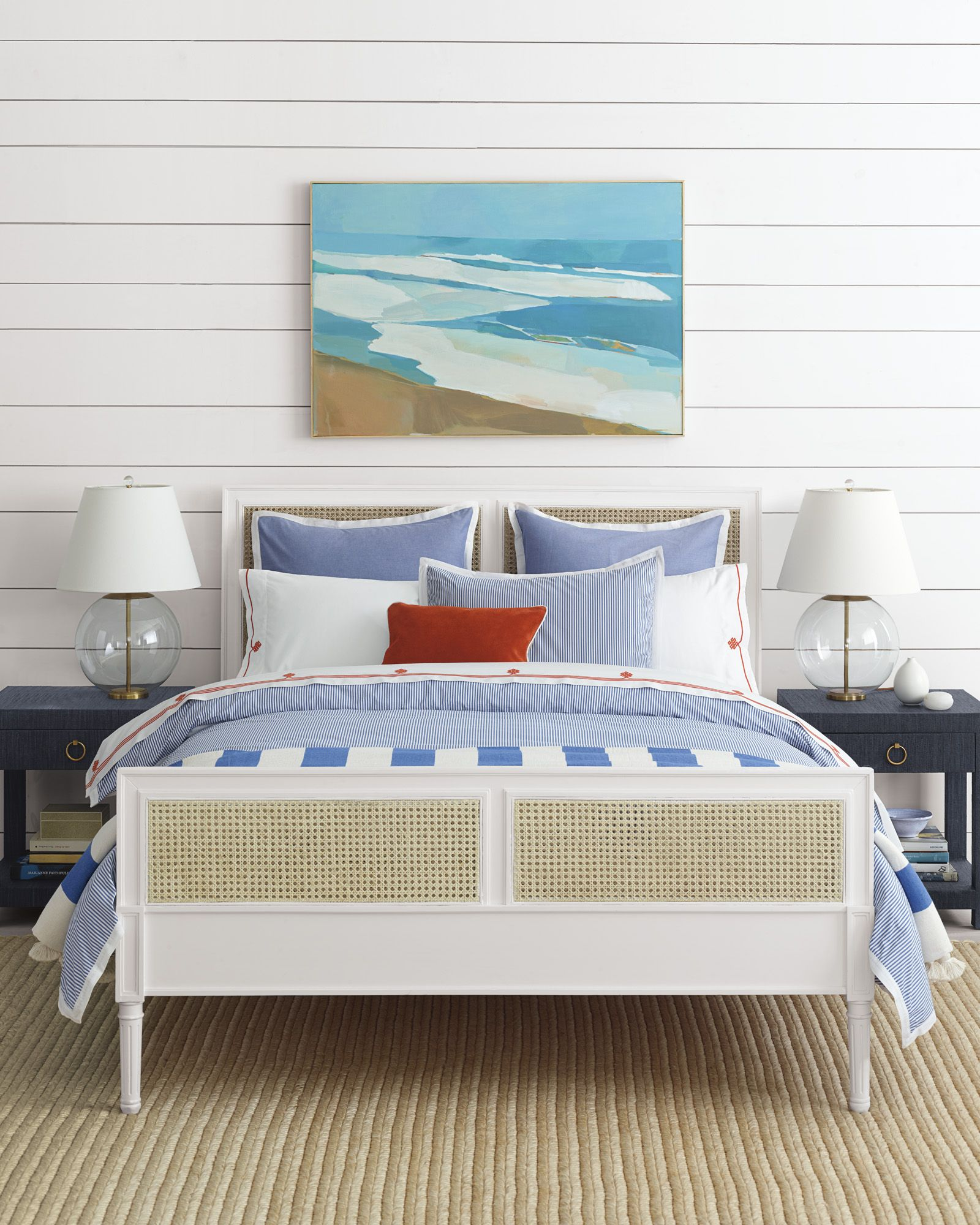 a coastal casual master bedroom harbour cane bed u0026 oxford stripe