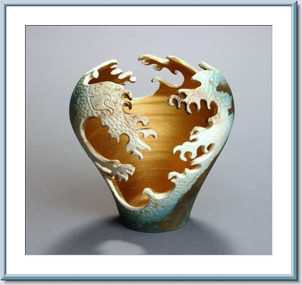 Ceramic wave cut out vase creative creativity and pottery for Creative pottery painting ideas