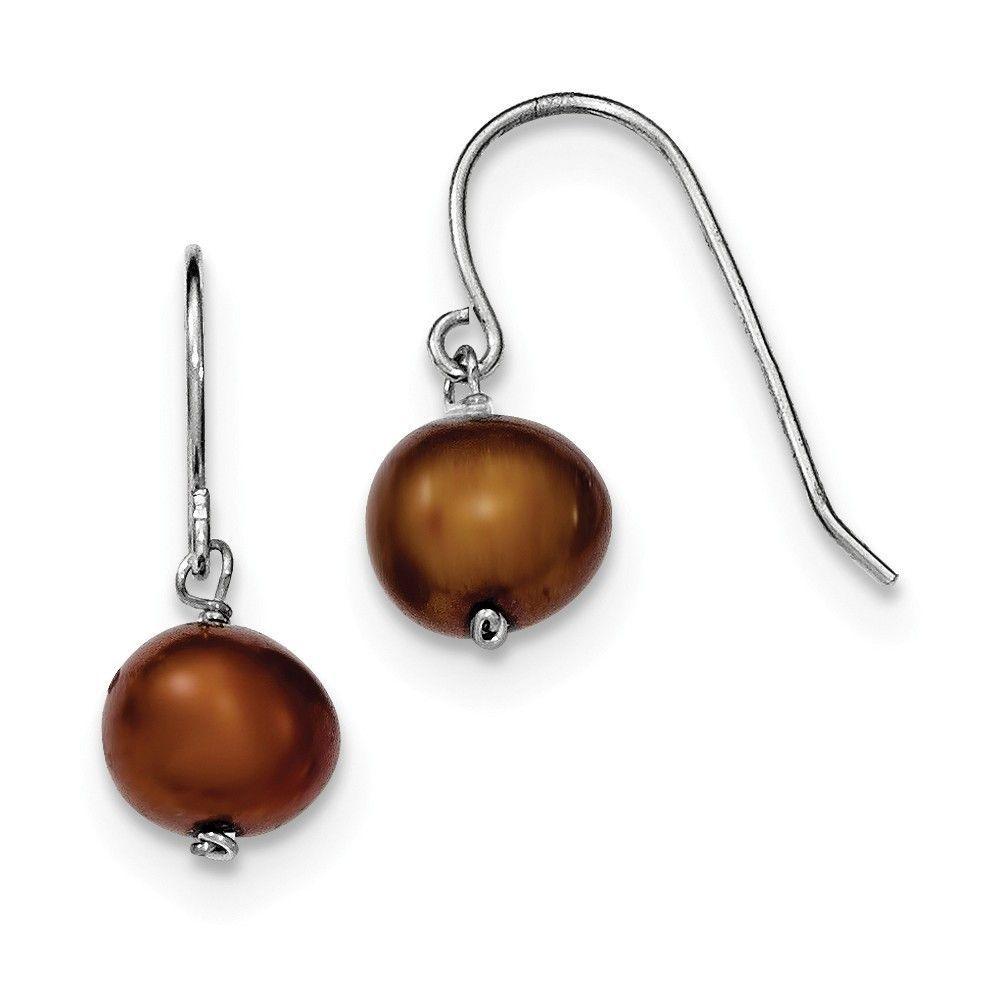 Sterling Silver Brown 7-8mm FW Cultured Pearl Dangle Earrings