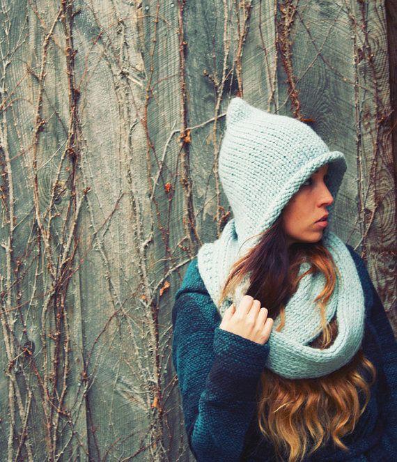 9cdd7a97a19 Handmade Ice Winter Blue Knit Pixie Hat