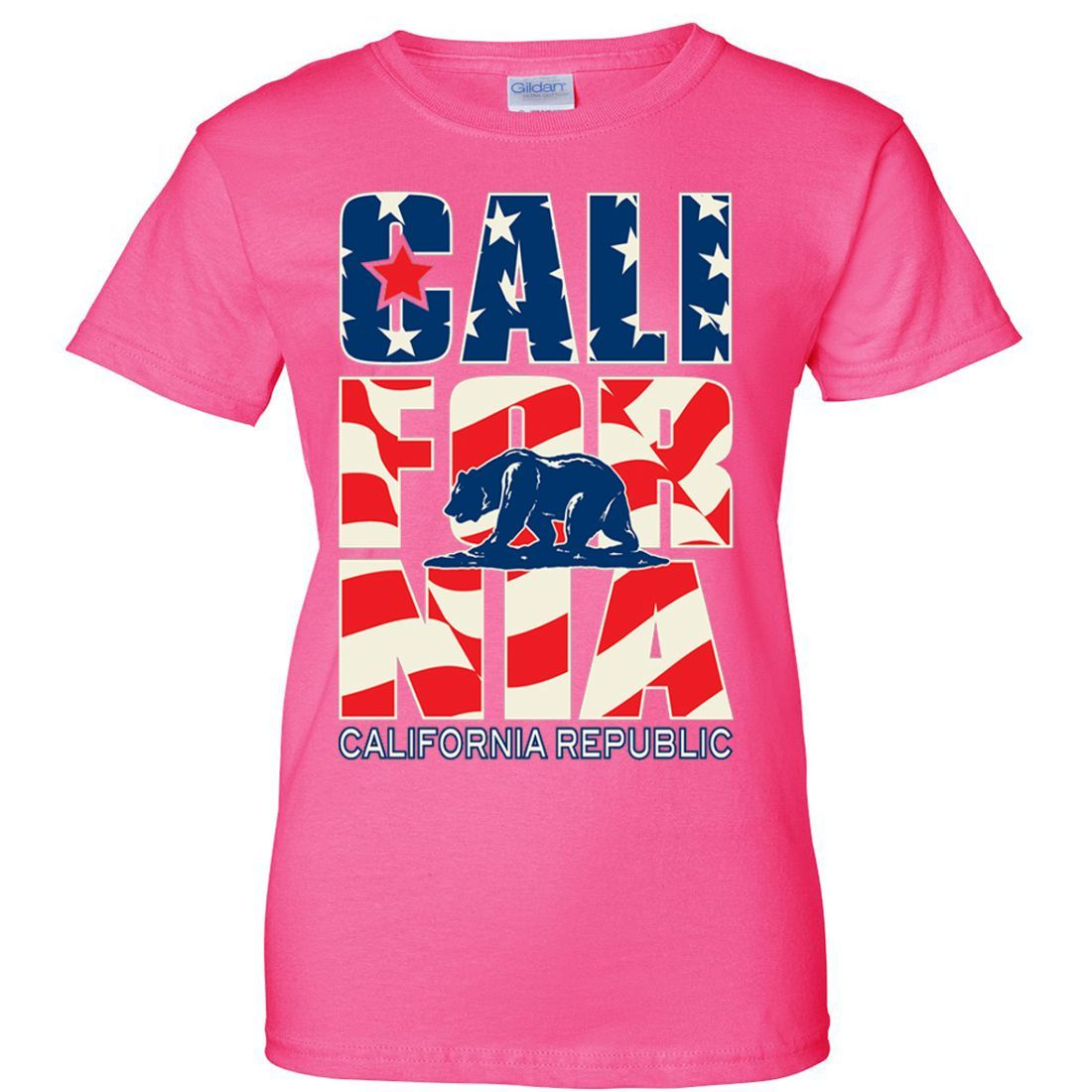 California Republic USA Flag Ladies T-Shirt